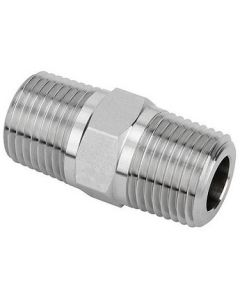 High Pressure 316 Stainless Steel Male NPT Pipe Thread Hex Nipple Class 3000 Fittings - Select Size for Price