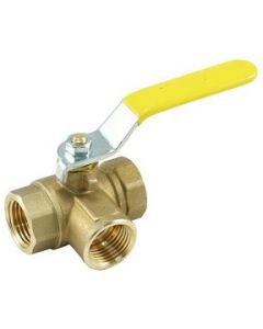 3-Way L-Port Brass Pipe Thread Ball Valves  - Select Size for Price