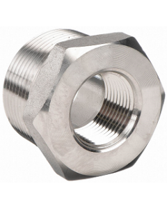 """High Pressure 304 Forged SS MNPT 1/2"""" Male Pipe Thread x Select Female FNPT Reducing Size Hex Bushing 3000"""