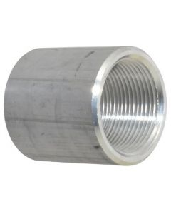 """Aluminum 1/2"""" NPT Full Coupling Class 150 Fitting - Made in the USA"""