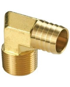 """Brass 1/2"""" Hose Barb x 1/2"""" NPT Male Pipe Thread 90 Degree Elbow Fitting"""