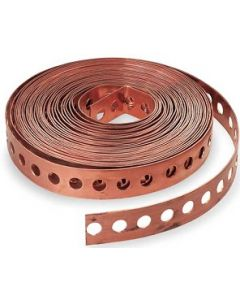 Copper Plated Steel Plumbers Hanging Pipe Strap 10-Feet Long 24-Gauge - Made in the USA