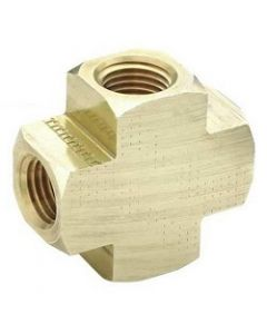Extruded Brass NPT Female Pipe Thread 4-Way Cross Class 1200 Fitting  - Select Size for Price