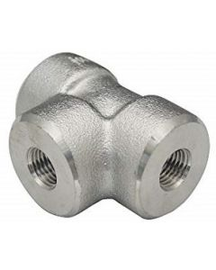 High Pressure 304 Forged SS NPT Female Pipe Thread 3-Way Tee Class 3000 Fitting  - Select Size for Price