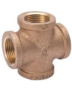 Lead Free Brass NPT Female Pipe Thread 4-Way Cross Class 125 Fitting  - Select Size for Price