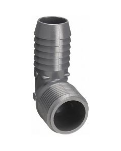 Hose Barb Insert x MNPT Pipe Thread Schedule PVC 90 Elbow Fitting  - Select Size for Price - Made in the USA