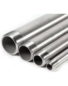 """Seamless 304 SS 1/2"""" NPT Schedule 80 Threaded Both Ends Pipe Nipple - Select Length for Price"""