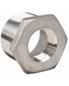 """304 SS MNPT 1-1/2"""" Male Pipe Thread x Select Female FNPT Reducing Size Hex Bushing 150"""