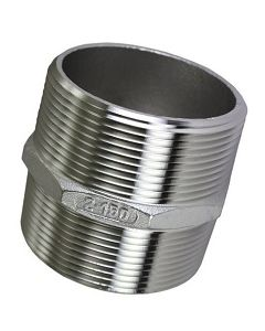 304 Stainless Steel Male NPT Pipe Thread Hex Nipple Fittings - Select Size for Price