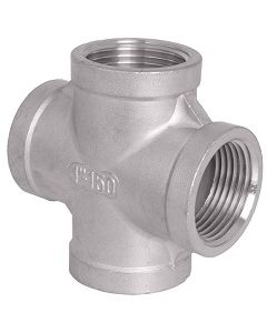304 SS NPT Female Pipe Thread 4-Way Cross Class 150 Fitting  - Select Size for Price