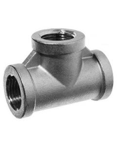 304 SS NPT Female Pipe Thread 3-Way Tee Class 150 Fitting  - Select Size for Price