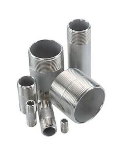 "304 SS 3/8"" NPT Schedule 40 Threaded Both Ends Pipe Nipple - Select Length for Price"